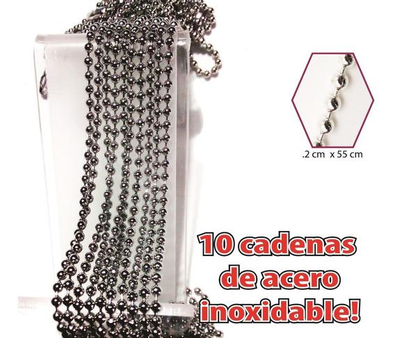 10 Cadenas Acero Inoxidable Bola Militar 55cm Unisex Mayoreo
