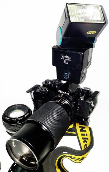 Câmera Nikon M-12 C/motor Driver + Objetiva + Lente + Flash