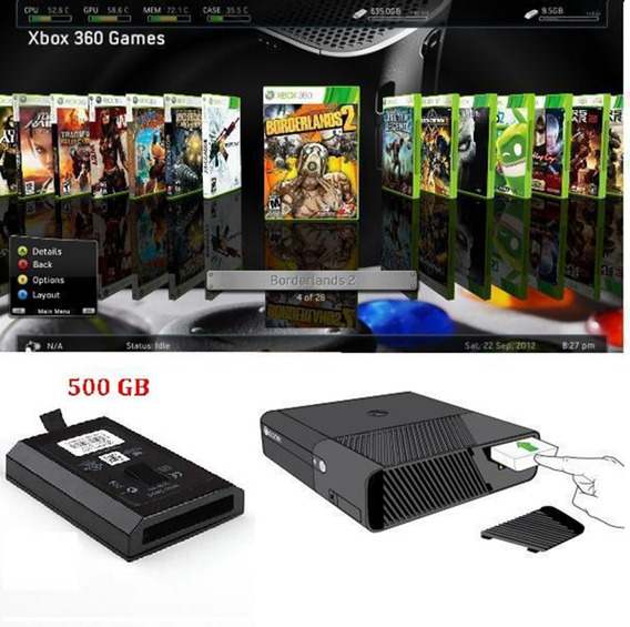 Hd Interno 500 Gb Xbox 360 Slim/ss +emul+dlcs+