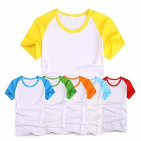 Kit 15 Camiseta P/ Sublimação Mangas Colorida