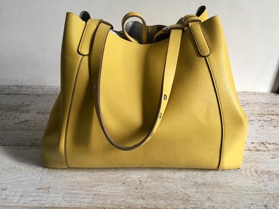 Bolso Cartera Zara Reversible Amarillo Y Plata Cuero Vegano