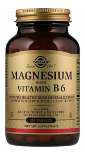 Magnesio + Vitamina B6 , Solgar, 400mg, 250 Tabletes