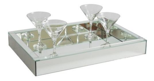 Bandeja Espelhada Prata Cozinha Para Sala Jantar Mesa 40x30