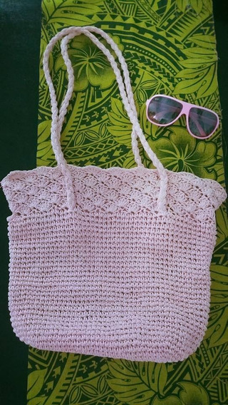 Bolso Playero Color Rosa Crochet