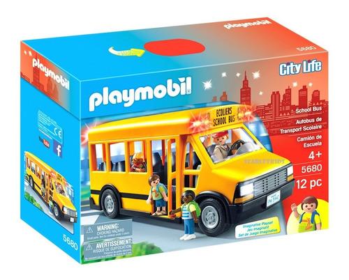 Playmobil Bus Escolar 5680 Con Luces 12 Piezas + 4 Figuras