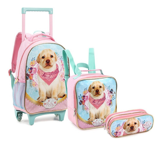 Kit Mochila Infantil Cachorrinho Dog Pets Rodinhas G Seanite