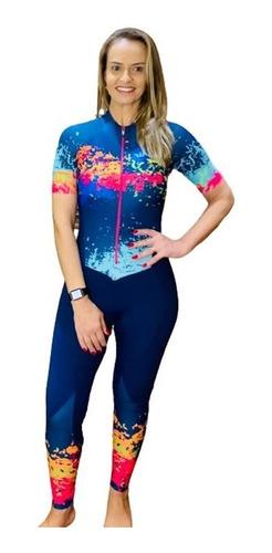 Macacão Ciclismo Feminino Aquarela Calça Mc