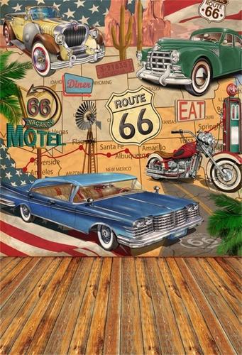 Aofoto 5x7ft Vintage Route 66 Telón De Fondo Para Exhibición