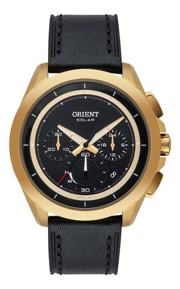 Relógio Masculino Dourado Orient Solar Cronógrafo Couro Data