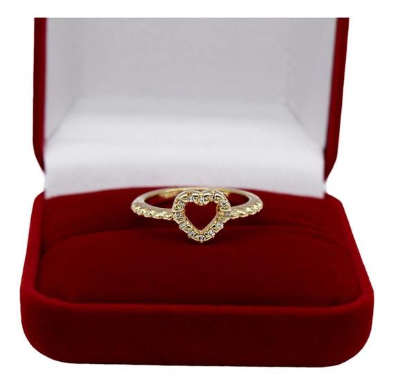 Anel Feminino Coração Pedra Zircônia Vazado Banhado Ouro 18k