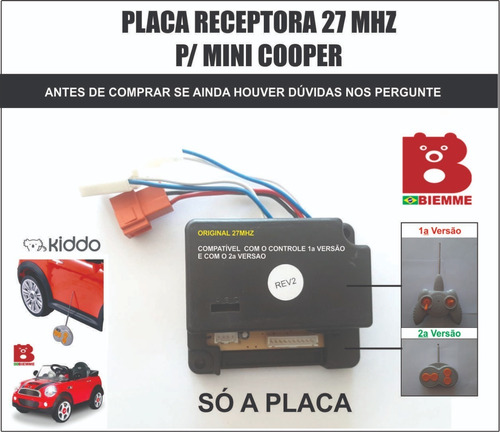 Mini Cooper Biemme - Só A Placa Original Receptora 27mhz