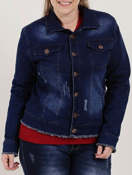 Jaqueta Jeans Plus Size Feminina Azul