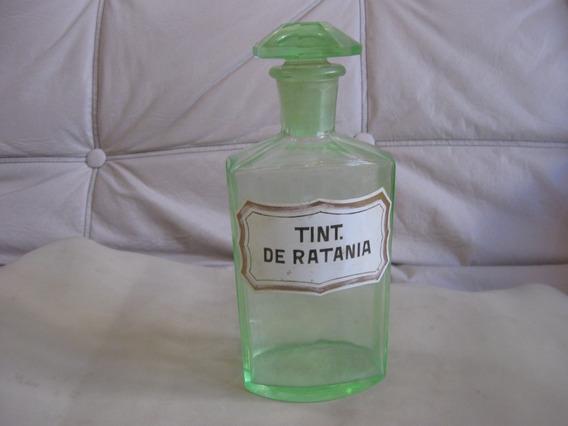 Antiguo Frasco De Farmacia, Verde Uranio, 21.5 Cm