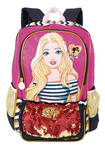Mochila De Costa Infantil Menina Barbie 19z Bolsa 65201 Rosa