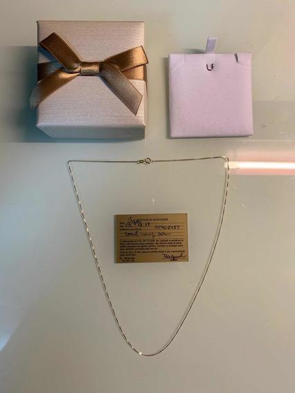 Colar De Ouro 18k Fino 50cm Com Certificado De Autenticidade