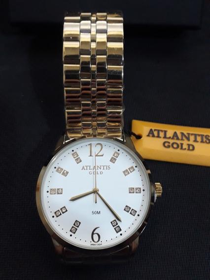 Relogio Unissex Atlantis G3495 Dourado Fundo Branco
