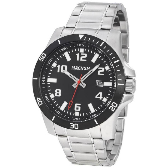 Relógio Magnum Analógico Data Masculino Casual Prata Ma35057
