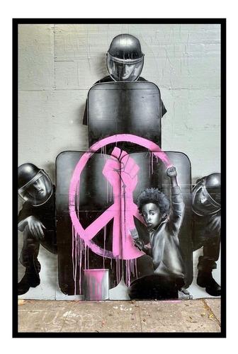 Quadro Decoração Sala Grafite Em Ny, Menino E Policiais, Paz