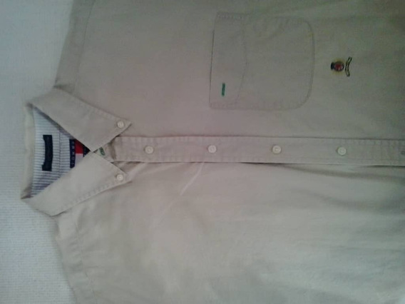 Camisa Color Caqui Beige. 100% Algodón. Tommy .talla L