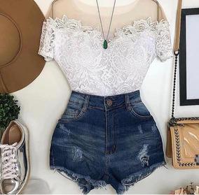 Conjunto Body + Bermuda Jeans Promoção Lançamento Instagram