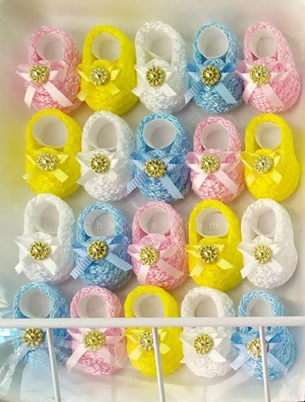 Distintivos Para Baby Shower Zapatitos Bordados Plato/charol