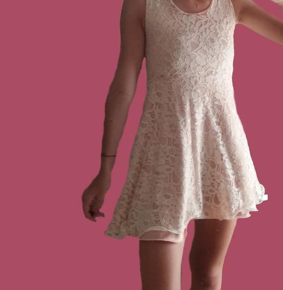 Vestido Corto De Encaje Rosa