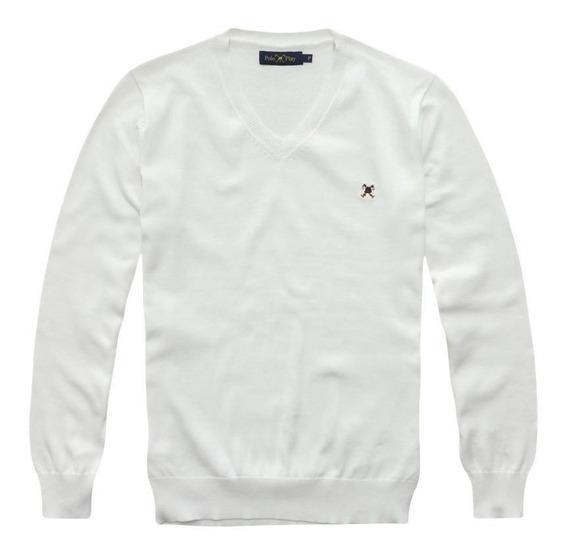 Blusa Suéter Decote V Polo Play 100% Algodão
