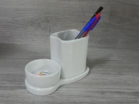 Porta Lápis Clips Porcelana Branca Escritório Escrivaninha