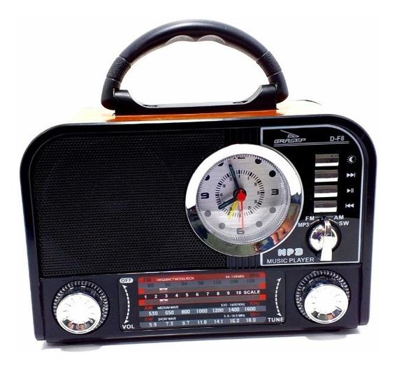 Caixa Som Retrô Bluetooth Radio Am Fm Sw Usb Sd Despertador