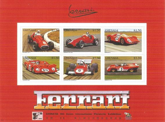 1996 Grenada Ferrari Hoja Souvenir Autos De Carreras Mnh