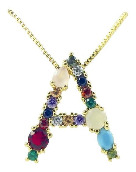 Collar Dije Inicial Letra Arcoiris Zirconias Colores Rainbow