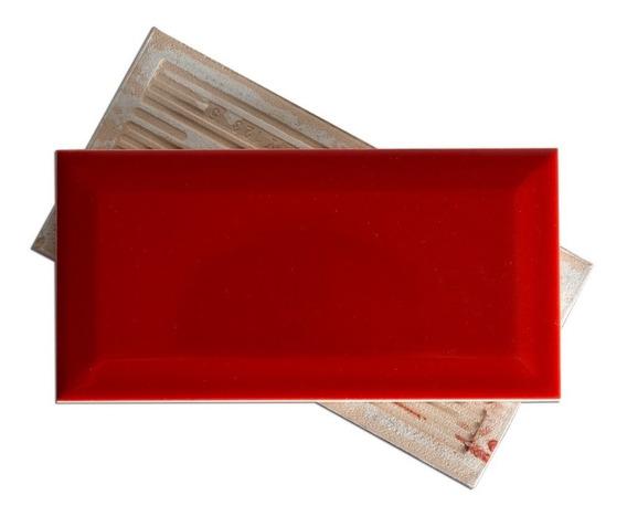 Azulejos Ceramicos Subway Rojo Biselado 7.5x15 Baño Cocina Pared