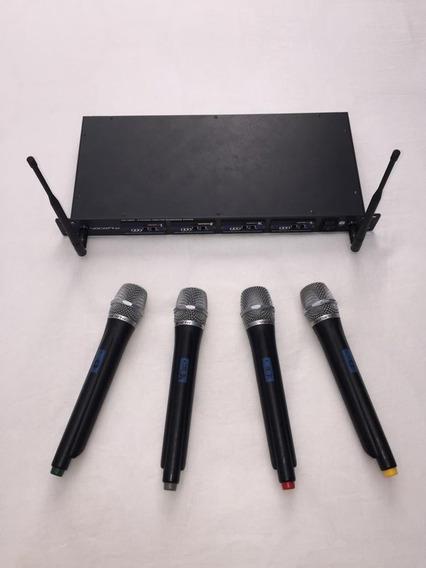 4 Microfones Vocopro Uhf-5800-9 Pro 4-channel Uhf Sem Fio