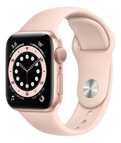 Imagen 1 de 8 de Apple Watch  Series 6 (GPS) - Caja de aluminio oro de 40 mm - Correa deportiva rosa arena