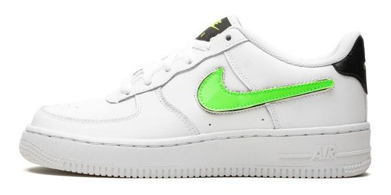 Tenis Nike Air Force 1 Lv8 3 Gs Piel Swoosh Logo Parches