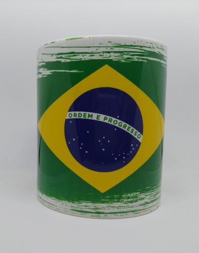 Imagem 1 de 4 de Caneca Em Porcelana Personalizada Com A Bandeira Do Brasil