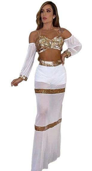 Conjunto Cropped Ciganinha Shorts Vestido Tule Réveillon