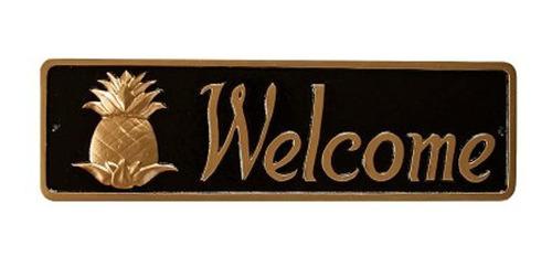 Imagen 1 de 1 de Montague Metal Products Pineapple Welcome Placa Negra Con Or