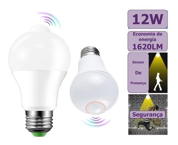 Lampada Led 12w Bulbo Sensor Presenca Movimento Fotocelula Branco Frio 6500k E27 110/220v - Bivolt