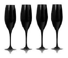 Copa Champagne Cristal Negra X 6 Un.