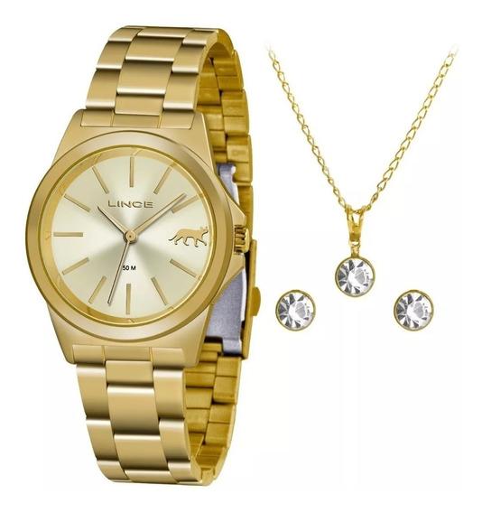 Kit Relógio Lince Feminino Lrgh125l Kx22c1kx Dourado + Nota