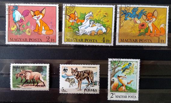 Fa 013 Selo Fauna Lobo Hungria Polonia Brasil