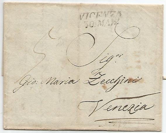 Itália Lombardo Veneto 1850 Fold Cover Pré-filatélico