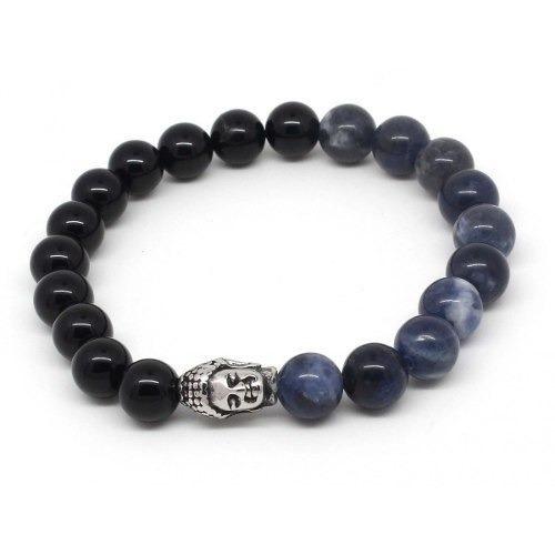 Pulseira Masculina Pedras Naturais Ágata Negra E Azul