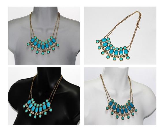 Collar Dama Mujer Vintage Moda Dorado Cuentas Turquesa Cc376