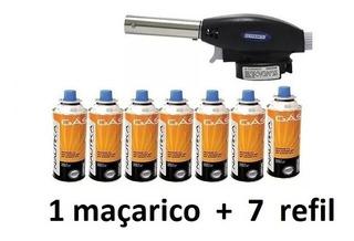 Maçarico Portatil C/ Regulagem Gourmet Culinario + 7 Cartuch