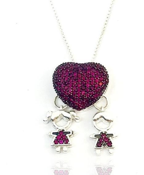 Colar Coração Casal Menino E Menina Pedra Rosa Em Prata 925