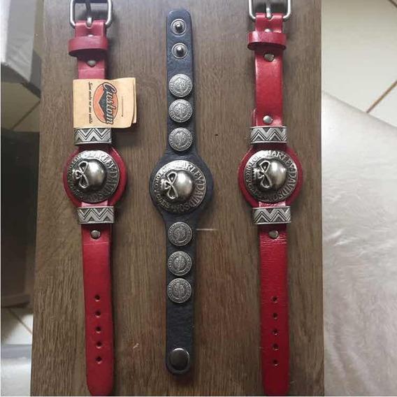 Pulseira Bracelete Harley Davidson Couro Original Moto Origi
