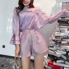 Mulheres Verão 2 Peça Outfits Definir Longo Manga Blusas T