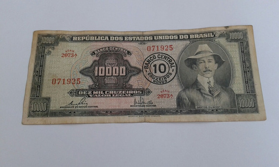 Cédula Antiga Nota 10000 Santos Dumont
